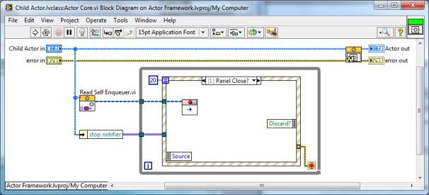 LabVIEW Actor Framework Child Class Actor Core