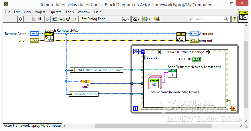 LabVIEW Actor Framework Send LNA Message
