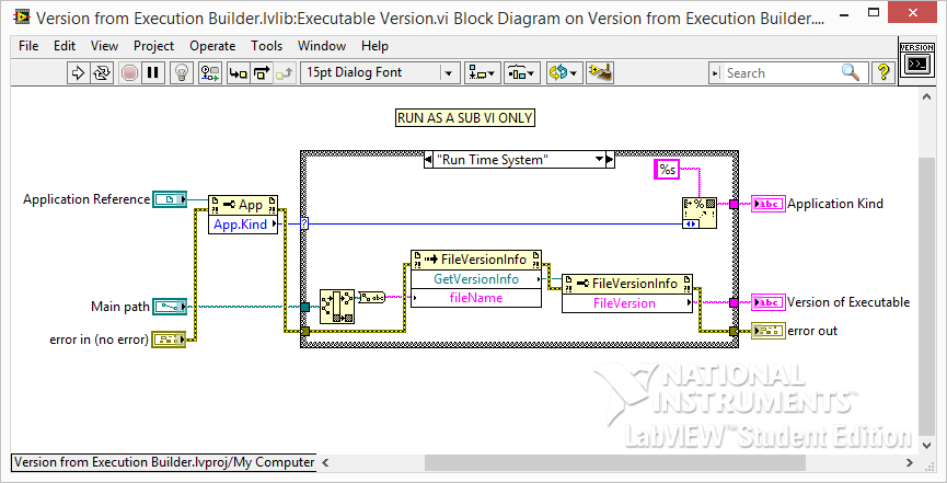 LabVIEW Application Version subvi block diagram