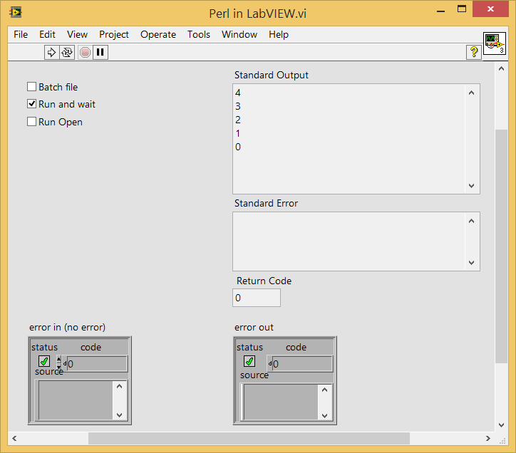 LabVIEW system exec batch file Perl script output